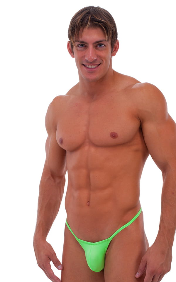 Stuffit Pouch G String Swimsuit in Neon Lime 1