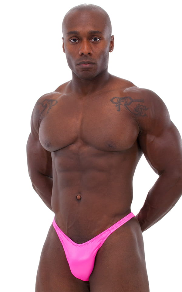 Bodybuilder Posing Suit - Narrow Back in Wet Look Hot Pink 1