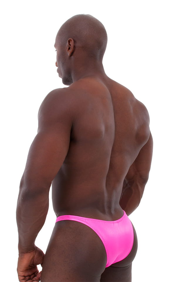 Bodybuilder Posing Suit - Narrow Back in Wet Look Hot Pink 3