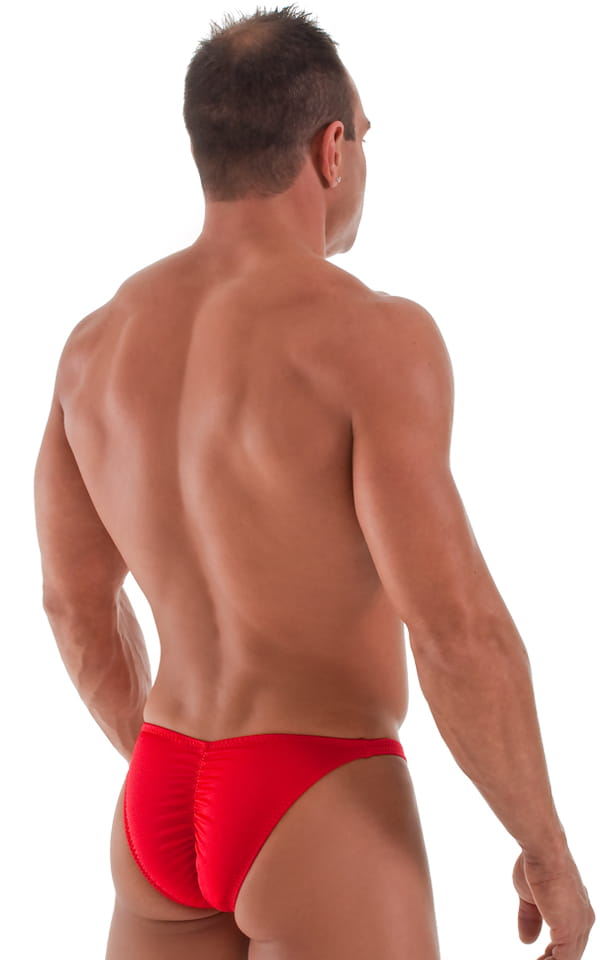 bodybuilding posing suit red back