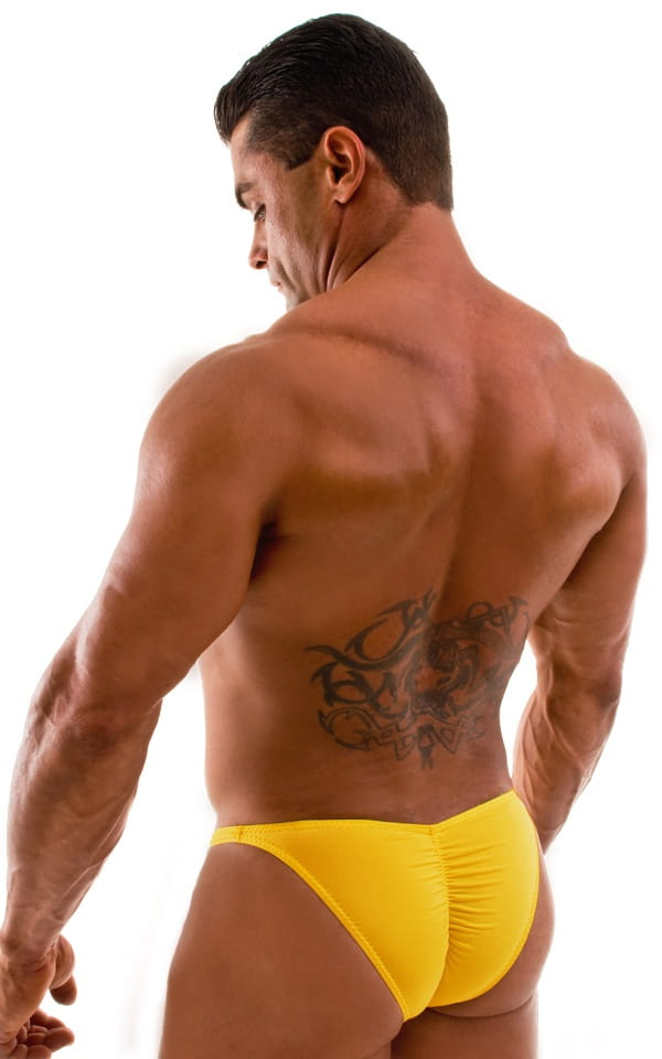 Fitted Pouch Puckered Back Bikini Swimsuit in Semi Sheer Sunset Yellow 3