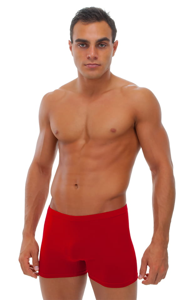 Seamless Square Cut Underwear Gym Shorts in Red Cotton/lycra 1