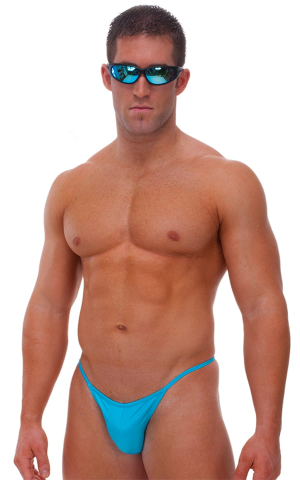 Fitted Pouch - Puckered Half Back - Swimsuit in Wet Look Turquoise 1
