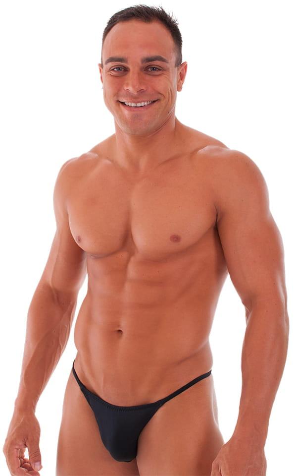 Skinny Side Half Back Swim Suit in Black 1