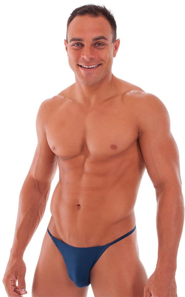 Skinny Side Half Back Swim Suit in Semi Sheer ThinSKINZ Navy Blue 1