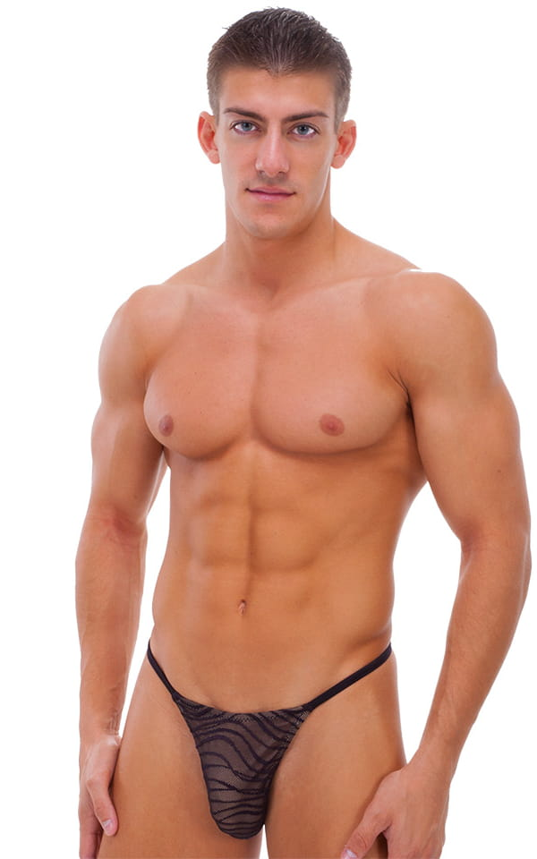 Smooth Pouch Skinny Sides Swim Thong In Wavey Black Mesh