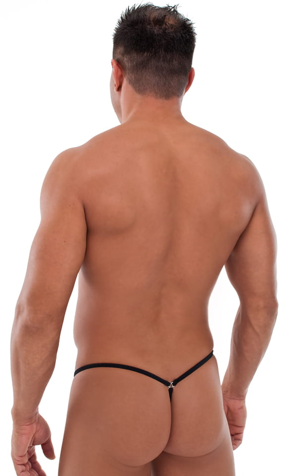 G String Swimsuit - Adjustable Pouch in Semi Sheer ThinSKINZ Black 3