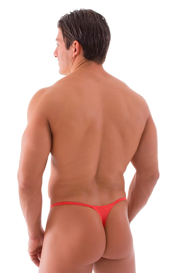 Smooth Pouch Skinny Sides Swim Thong in Semi Sheer Apricot 3