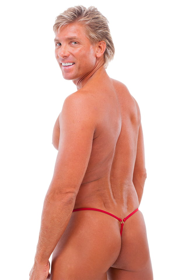 G String Swimsuit - Adjustable Pouch in ThinSkinz Semi Sheer Red 3