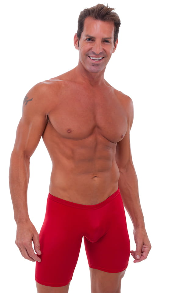 Extreme Lycra Jammer Shorts in Semi Sheer ThinSkinz Lipstick Red 1