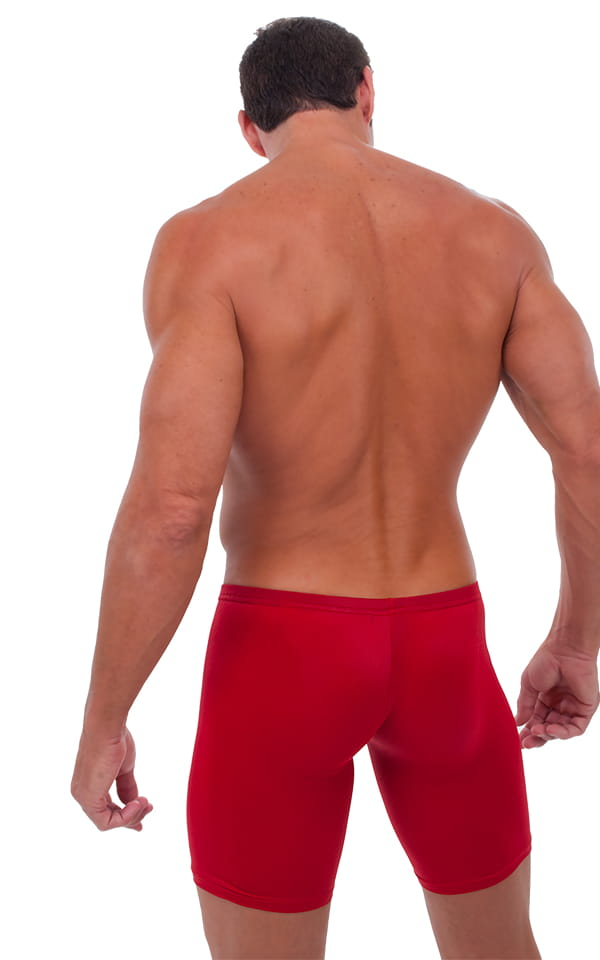 Extreme Lycra Jammer Shorts in Semi Sheer ThinSkinz Lipstick Red 3