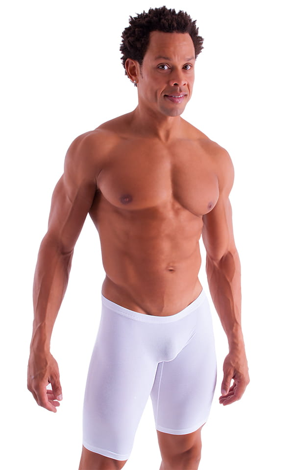 Extreme Lycra Jammer Shorts In Semi Sheer White Powernet