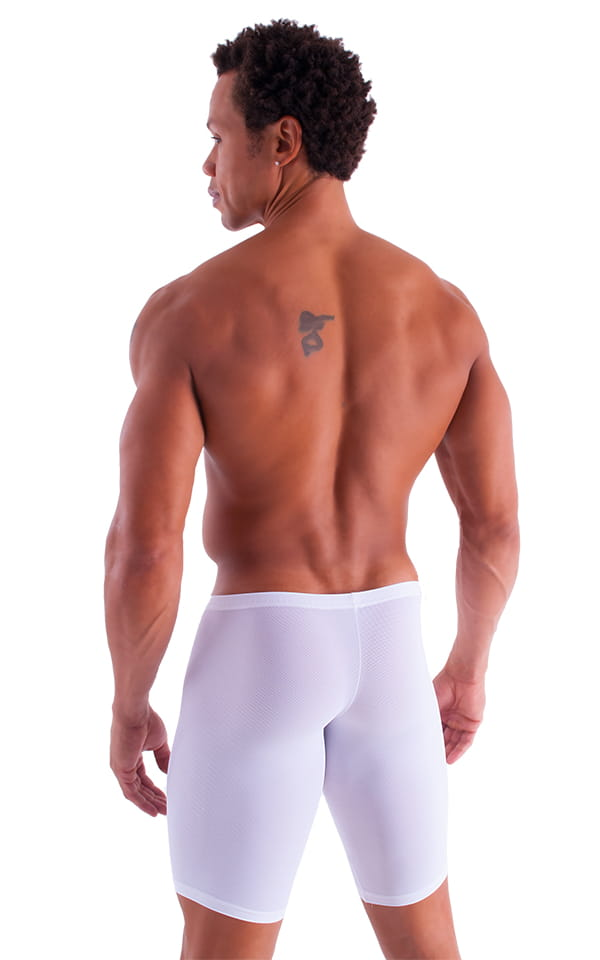 Extreme Lycra Jammer Shorts in Semi SHEER White PowerNet 3