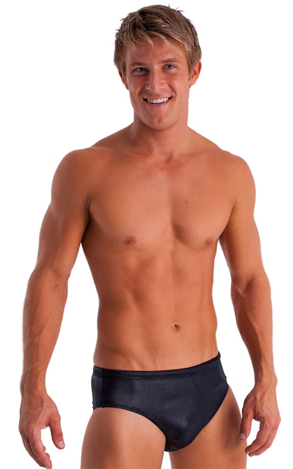 Swim-Dive Competition Brief in Wet Look Black 1