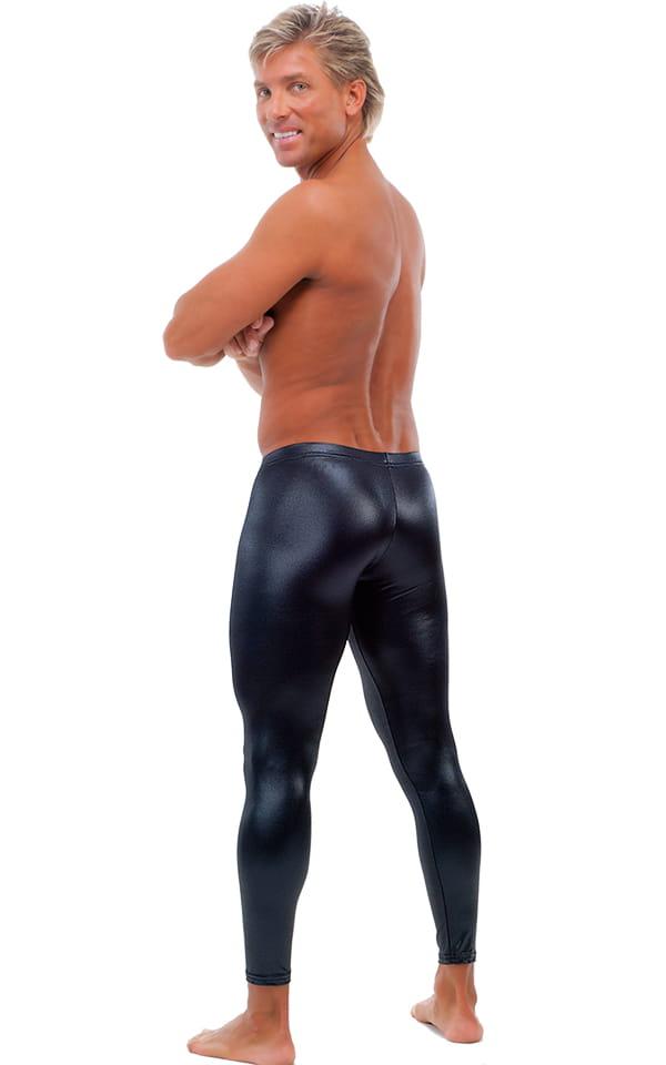 Mens Low Rise Leggings Tights in Wet Look Black 3