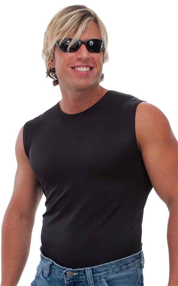 Sleeveless Lycra Muscle Tee in Black 1