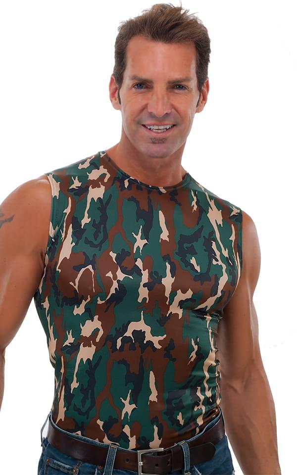 23e775ce5 Sleeveless Lycra Muscle Tee in Camo   Skinzwear.com
