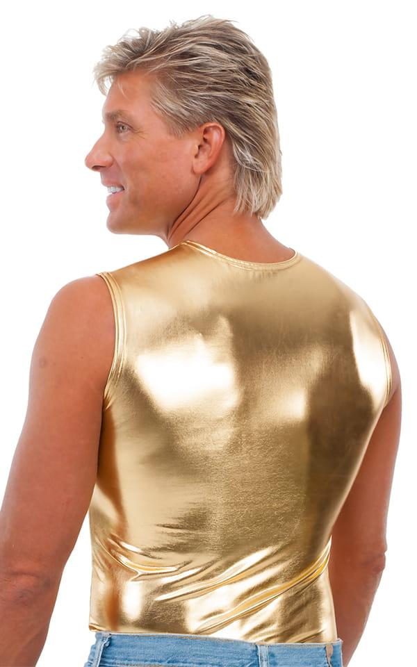 Sleeveless Lycra Muscle Tee in Metallic Liquid Gold 3