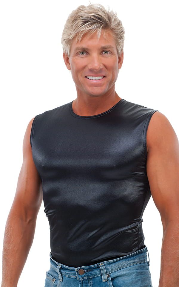 f1ae79059 Sleeveless Lycra Muscle Tee in Wet Look Black | Skinzwear.com