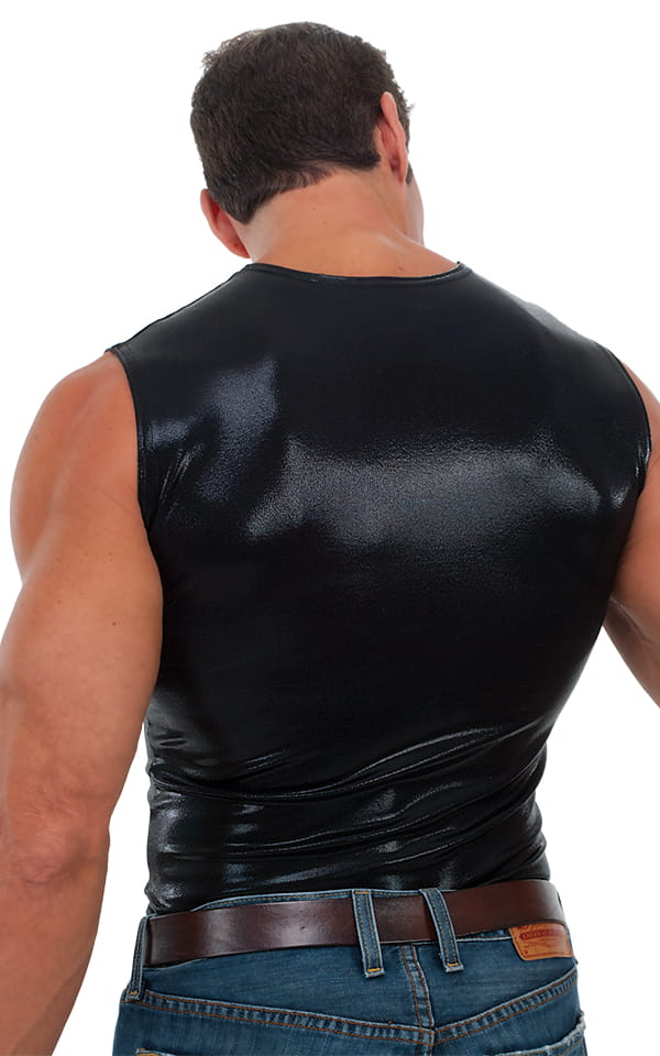 323127131 Sleeveless Lycra Muscle Tee in Metallic Mystique Black | Skinzwear.com