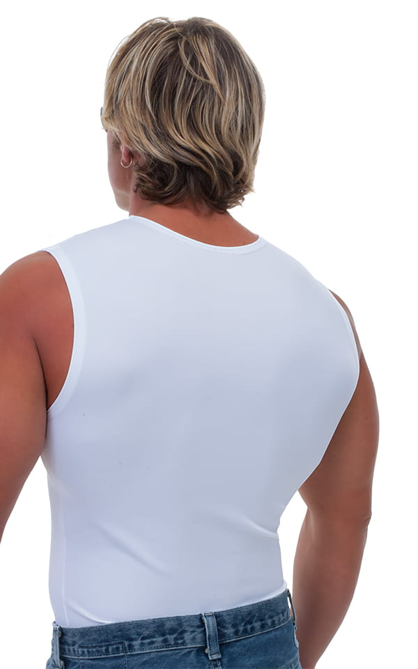 Sleeveless Lycra Muscle Tee in White 3