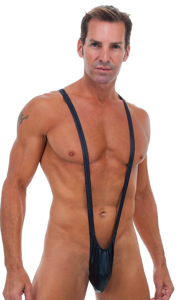 Borat Style - Sling Thong in Wet Look Black 1