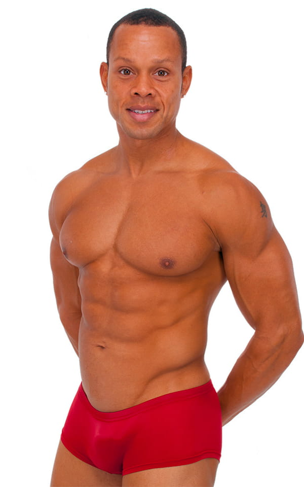 e066668f92 Extreme Low Square Cut Swim Trunks in ThinSkinz Red Tricot nylon ...