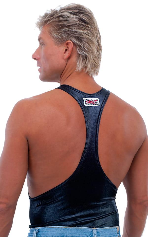 String Tank Gym Tee in M-Tex Wet Look Black nylon/lycra 3