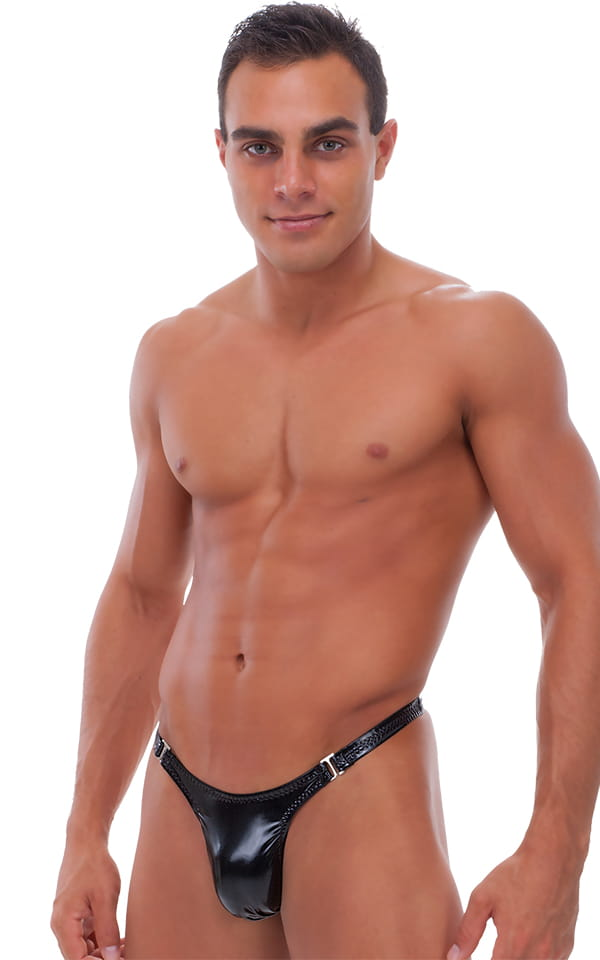 Male Review Stripper Swim Thong in Gloss Black Vinyl 1