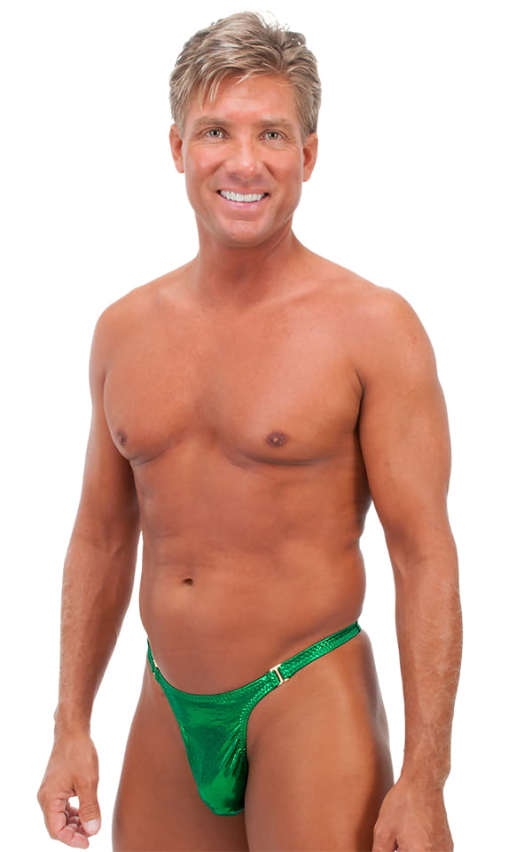 Male Review Stripper Swim Thong in Metallic Mystique Kelly/Kelly 1