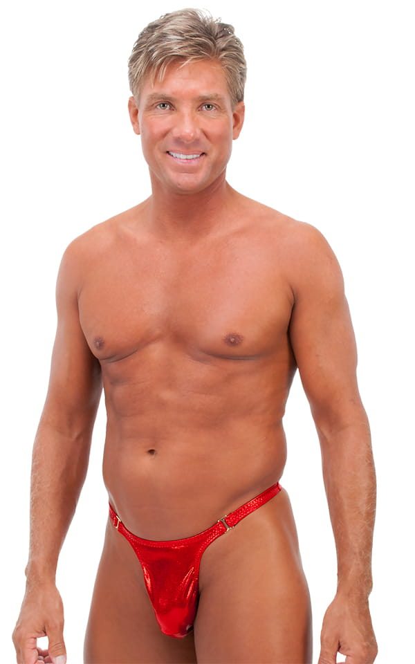 Male Review Stripper Swim Thong in Metallic Mystique Volcano Red 1