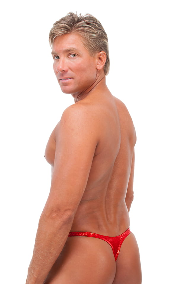 Male Review Stripper Swim Thong in Metallic Mystique Volcano Red 3