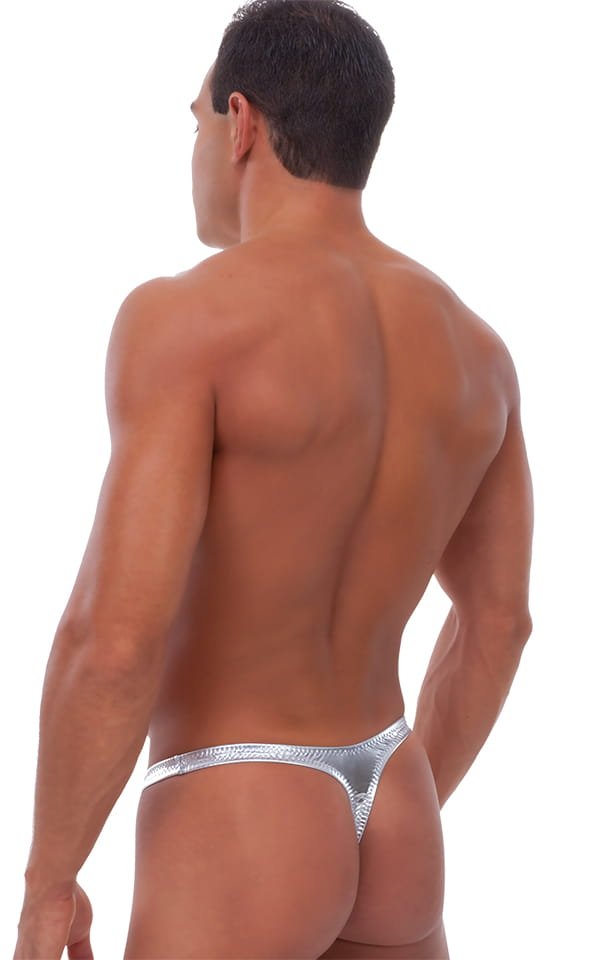 Male Review Stripper Swim Thong in Liquid Silver 3