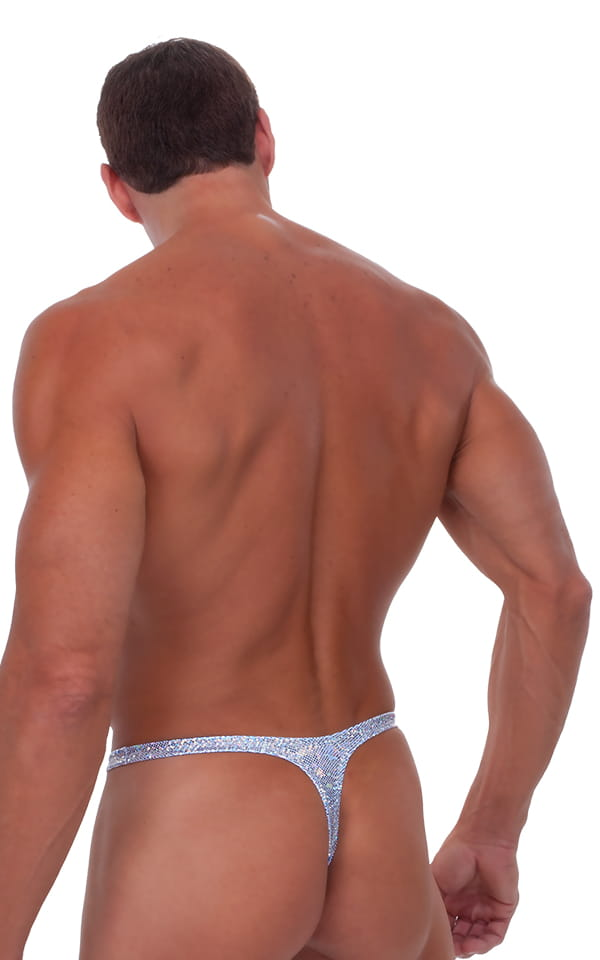 Male Review Stripper Swim Thong Swimsuit in Holographic Silver 3