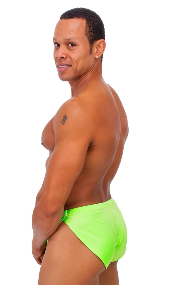 Swimsuit Cover Up Split Running Shorts in Neon Lime 3