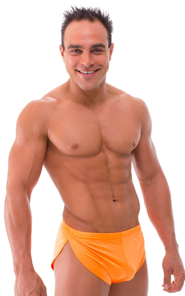 d62eaec46a Swimsuit Cover Up Split Running Shorts in Neon Orange | Skinzwear.com