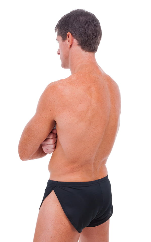 Swimsuit Cover Up Split Running Shorts in Black PowerNet 3