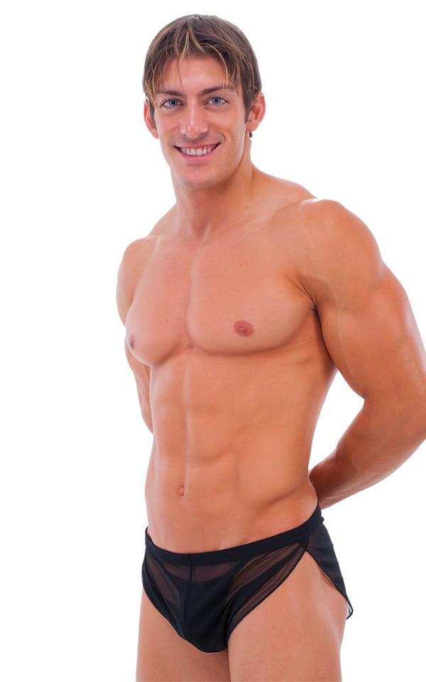 Swimsuit Cover Up Split Running Shorts in  Black Mesh 1