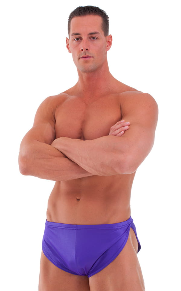 Posing Suit Cover Up Split Short in Wet Look Purple 1