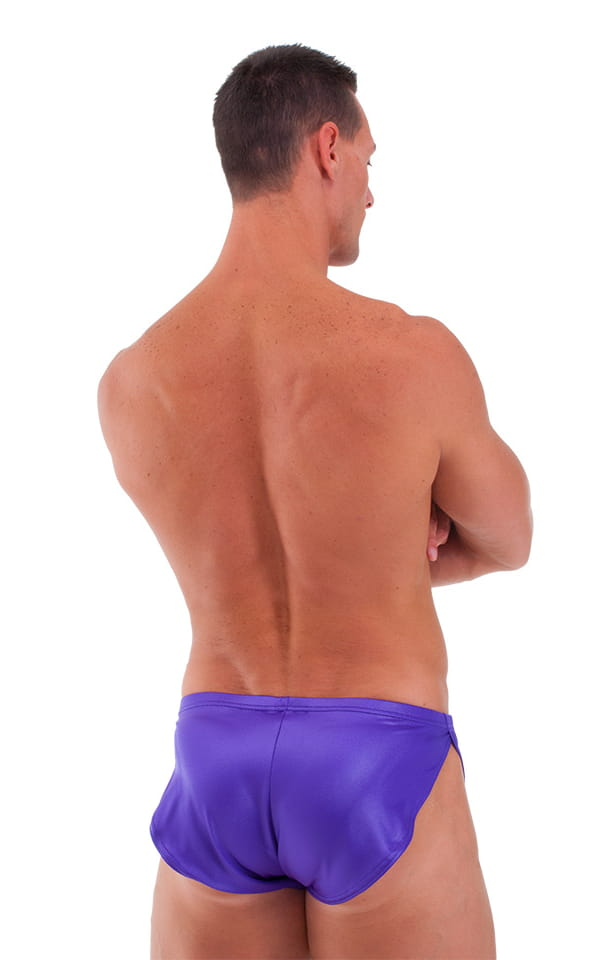 Posing Suit Cover Up Split Short in Wet Look Purple 3