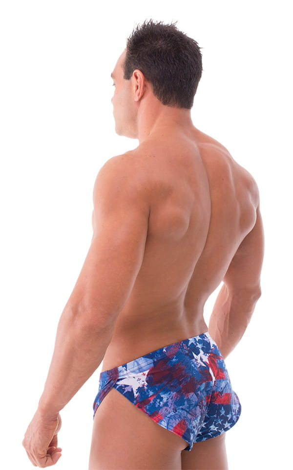 Swimsuit Cover Up Split Running Shorts in American Patriotic 3