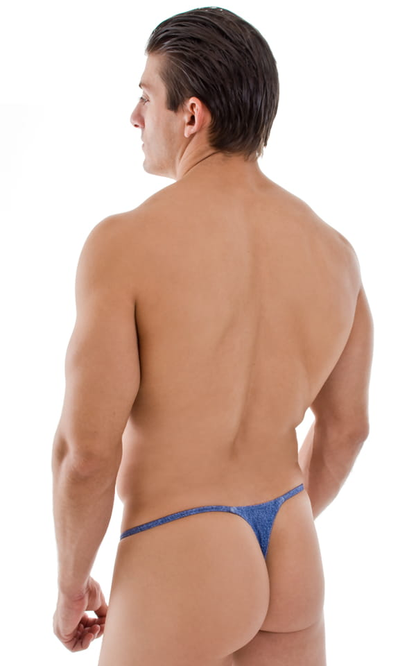 Smooth Pouch Skinny Sides Swim Thong in Blue Jean Baby 3
