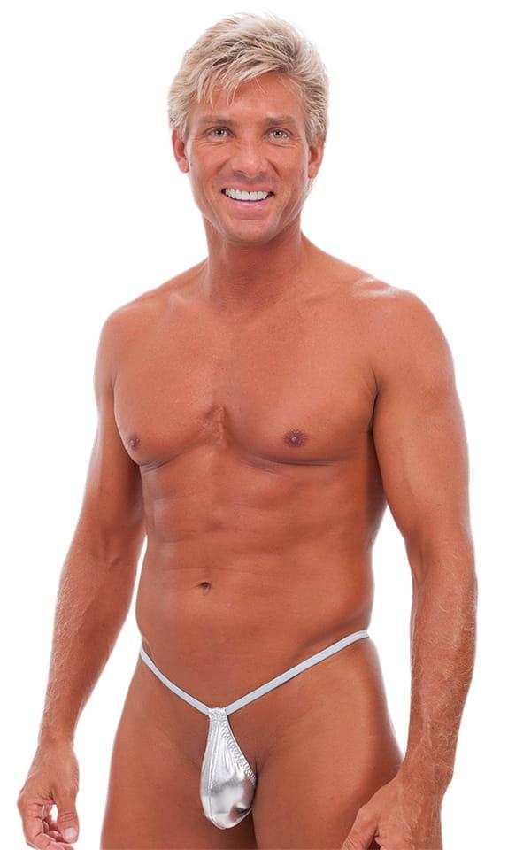 Teardrop G String Swim Suit in Liquid Silver 1