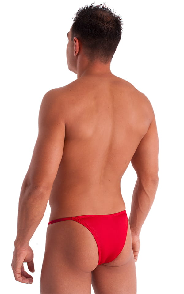 Adjustable to Micro Pouch Tanning Bikini in Wet Look Red 4