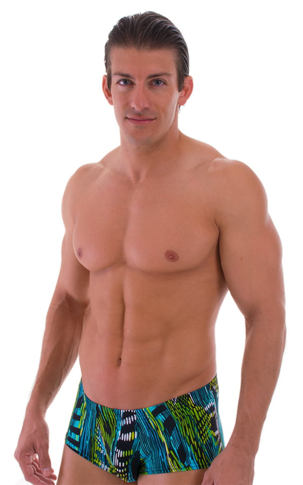 Mens-Fitted-Pouch-Square-Cut-Swim-Trunks Front