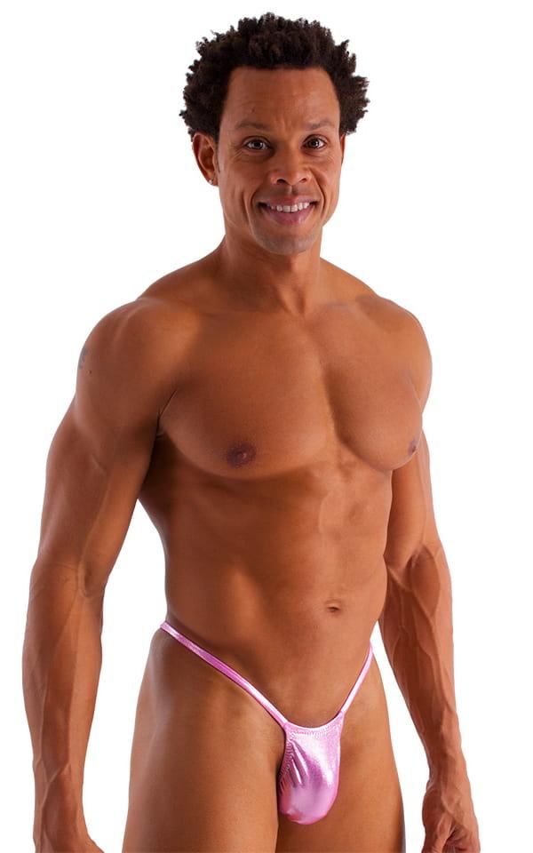 Roman G String Swim Thong in Metallic Mystique Bubblegum Pink 1