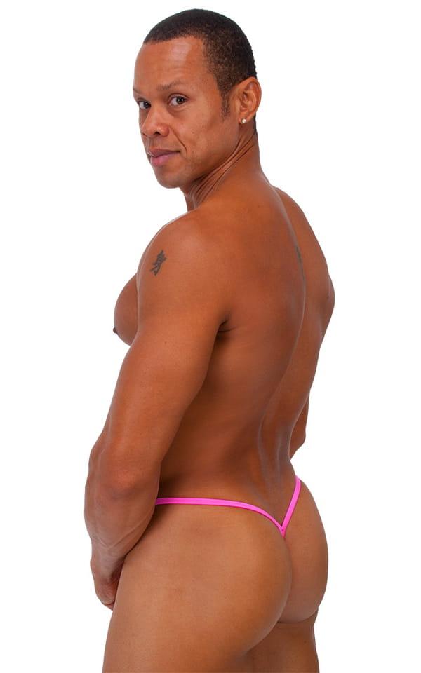 Roman G String Swim Thong in Wet Look Hot Pink 3
