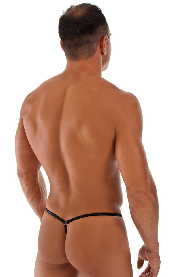Stuffit Pouch G String Swimsuit in Metallic Mystique Black 3