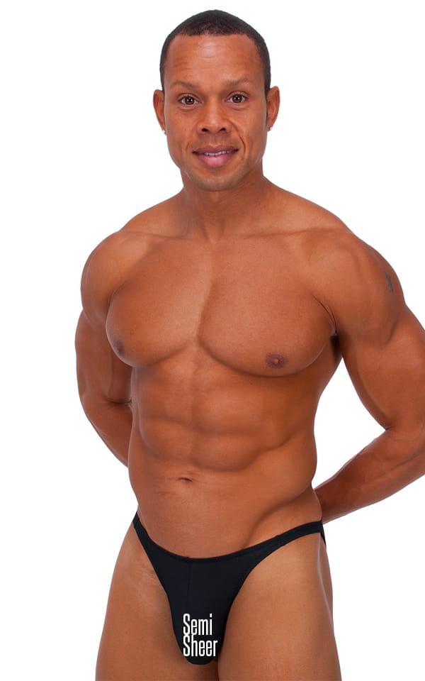 Fitted Bikini Bathing Suit in Semi SHEER Black PowerNet nylon/lycra 1