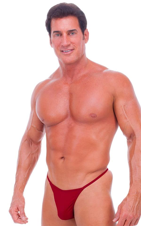 8a229909ed Skinny Side Half Back Swim Suit in Semi Sheer Crimson PowerNet ...